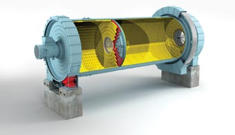 Figure 1: the shell-supported slide-shoe bearings makes FLSmidth's Unidan ball mill (UMS) unique