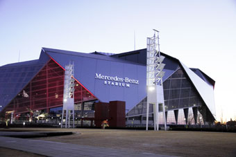 Mercedez-Benz stadium, home of the Falcons and Super Bowl 2019